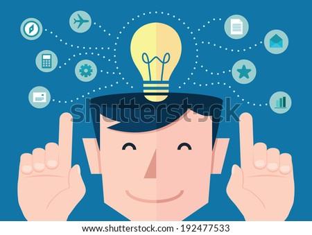 idea concept flat design, vector - stock vector