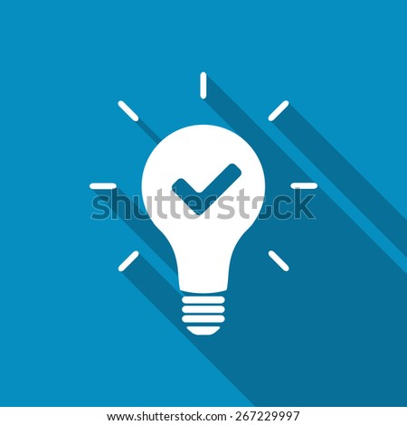 Idea concept. Light bulb and check mark. - stock vector