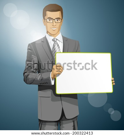 Idea concept. Vector Business man holding empty write board in his hands - stock vector