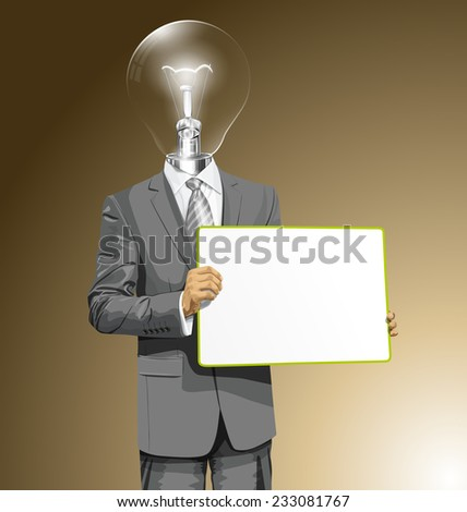 Idea concept. Vector lamp head business man holding empty write board in his hands - stock vector