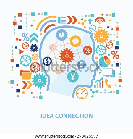 Idea connection concept design on white background,clean vector - stock vector