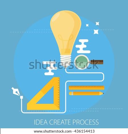 idea creating process concept flat - stock vector