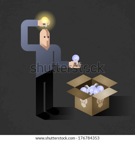 Idea Finder. Cartoon man inserting light bulbs into his head instead of another - one by one. Comic picture, illustrated metaphoric finding new ideas - stock vector