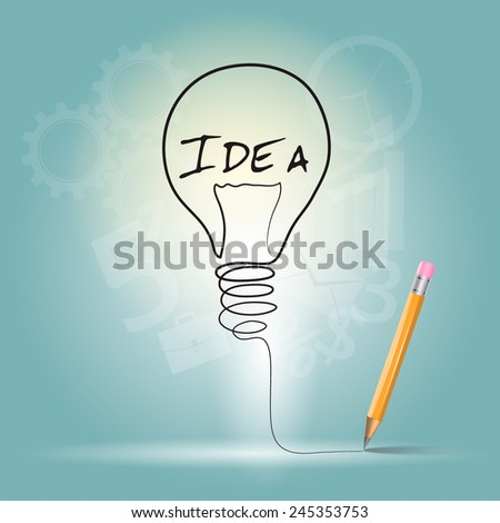 Idea graphic design, vector illustration. Doodle hand drawn sign. - stock vector