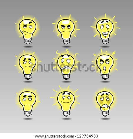 idea icon emotions set 1. Hand draw cartoon emotions: genius idea, brilliant idea, scandalous Ideas, unreal idea, interested idea, bright idea, crafty idea. - stock vector