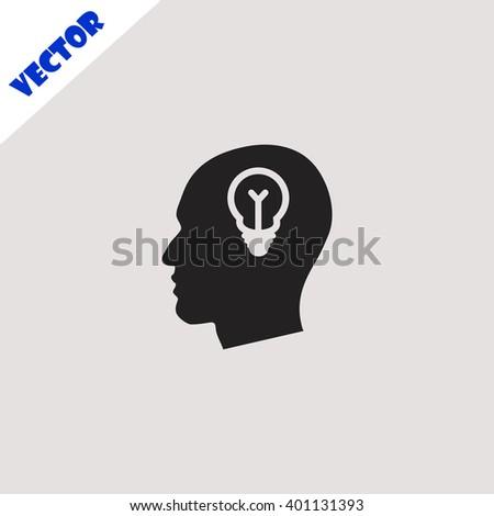 Idea icon. Idea vector. Grey icon on grey background. - stock vector