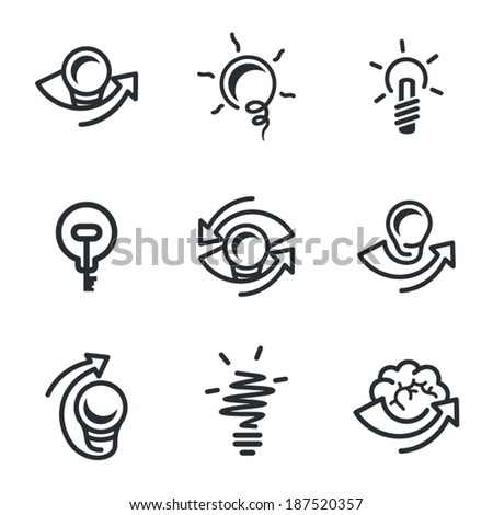 Idea icons set isolated on white background - stock vector