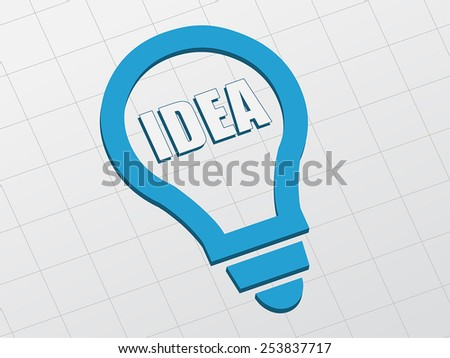 idea in light bulb sign - white text and blue symbol flat design, business creative concept, vector - stock vector