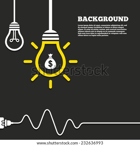 Idea lamp with electric plug background. Money bag sign icon. Dollar USD currency symbol. Curved cord. Vector - stock vector