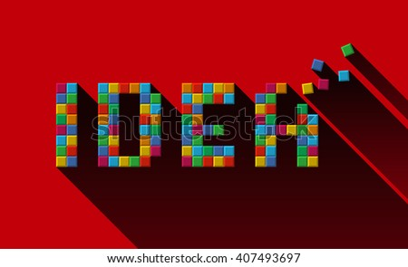IDEA letters made of colorful cubic blocks. Creative idea building concept. - stock vector