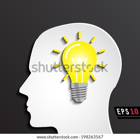 idea light bulb on human head profile/ vector illustration eps10 - stock vector
