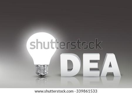 Idea light bulb with word idea. Vector Illustration - stock vector