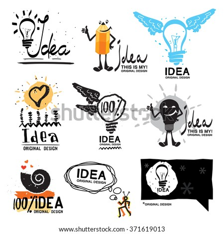 Idea logo. Glow crazy logo symbol. Light bulb with wings logo. Business card with a light bulb. Abstract logo idea. Light bulb sketch with concept ideas. Smart pencil with the logo. Bubble for text. - stock vector