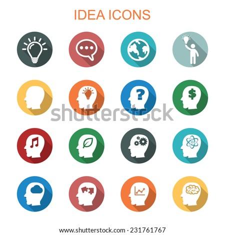 idea long shadow icons, flat vector symbols - stock vector