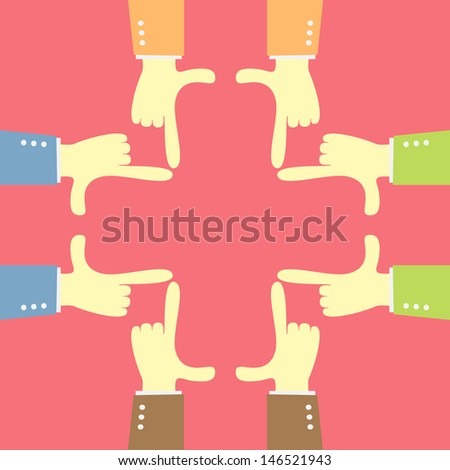 idea teamwork focus with  hand plus shape - stock vector