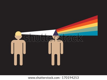 idea transformation in designers head  -  creative thinking concept - stock vector