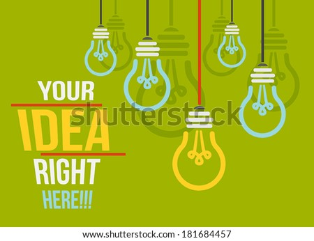 Idea vector background with lamps - stock vector