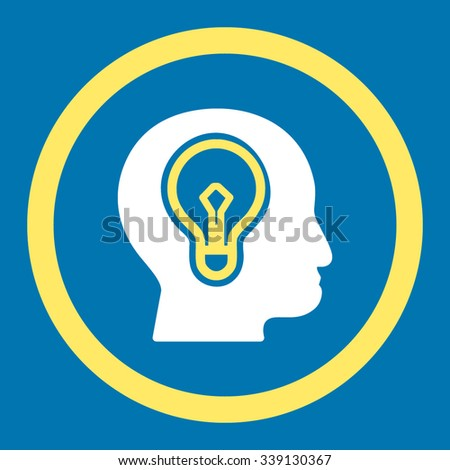 Idea vector icon. Style is bicolor flat rounded symbol, yellow and white colors, rounded angles, blue background. - stock vector