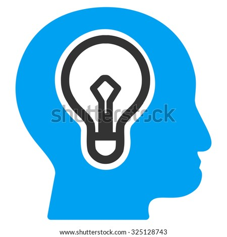 Idea vector icon. Style is bicolor flat symbol, blue and gray colors, rounded angles, white background. - stock vector