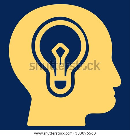 Idea vector icon. Style is flat symbol, yellow color, rounded angles, blue background. - stock vector