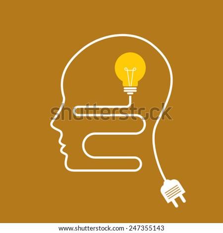 idea with human brain vector - stock vector
