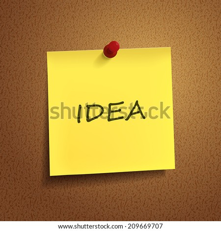 idea word on post-it over brown background - stock vector