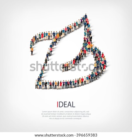 ideal people crowd - stock vector