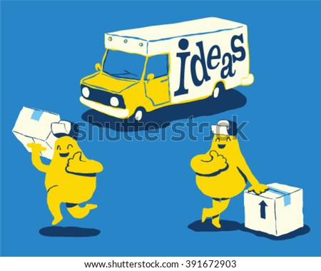 Ideas delivery truck, Shipping ideas concept - style vector illustration isolated on blue background - stock vector