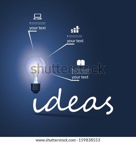 Ideas - Infographic Bulb Concept Design - stock vector