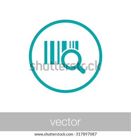 identification barcode sticker with magnifying glass - stock vector