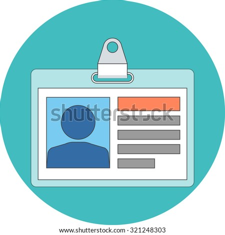 Identification card concept. Flat design. Icon in turquoise circle on white background - stock vector