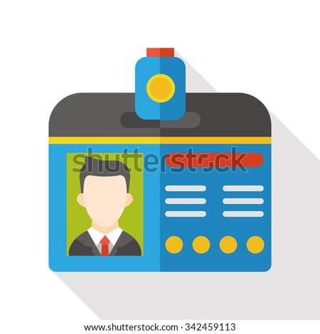 Identification card flat icon - stock vector