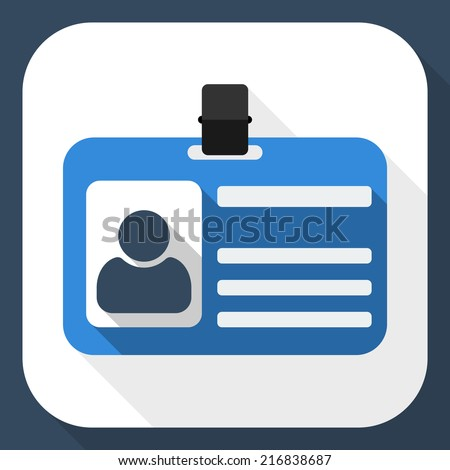 Identification card flat icon with long shadow - stock vector