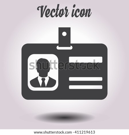 Identification card icon. Flat design style. EPS 10. - stock vector