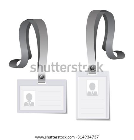 Identification white blank plastic id cards, Vector illustration. - stock vector