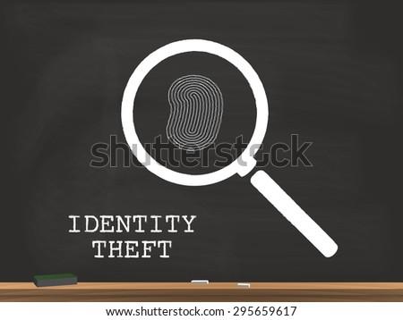 Identity Theft Chalkboard Illustration - stock vector