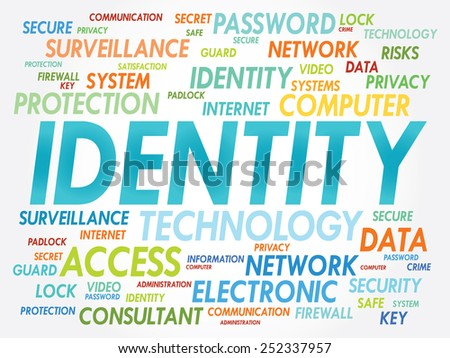 IDENTITY word cloud, security concept - stock vector