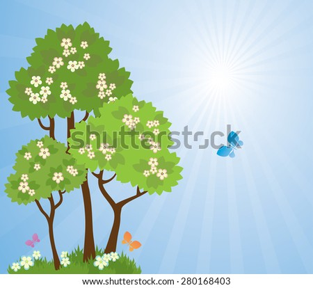 Idyllic spring landscape. Blossoming trees in the background of the bright sun - stock vector