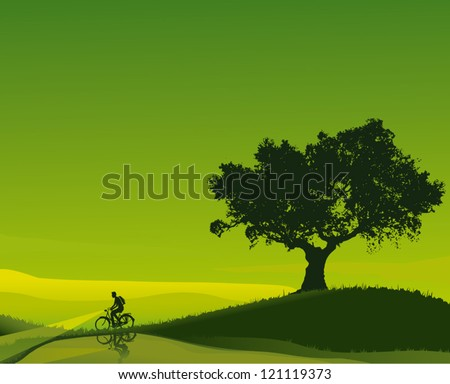 Idyllic sunset in shades of green with a cyclist who walks beside a river. - stock vector