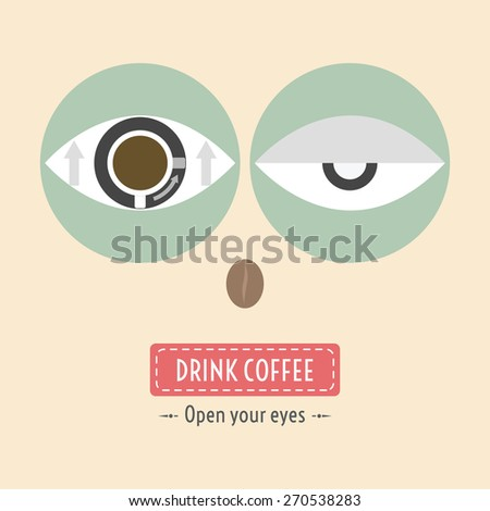 if you lethargic drink a coffee - stock vector