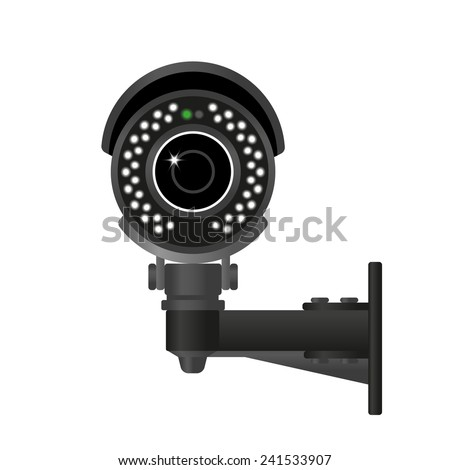 Ifrared black cctv. Realistic illustration isolated on white - stock vector