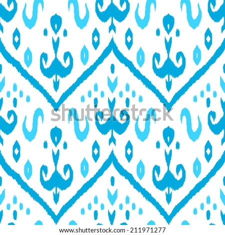 Ikat middle east traditional silk fabric seamless pattern in blue and white, vector - stock vector
