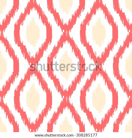 Ikat vector seamless pattern. Abstract geometric background for fabric, print or wrapping paper. Coral light and beige on white - stock vector
