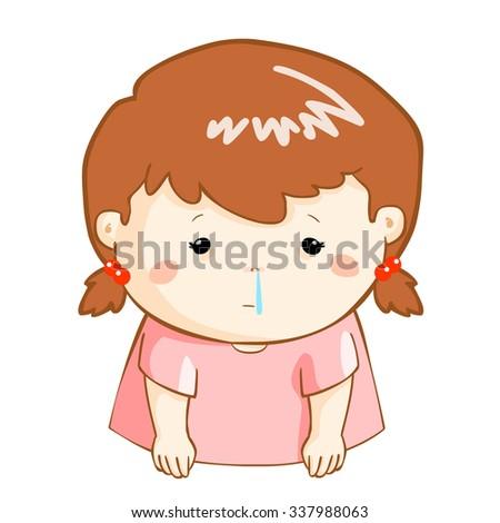 ill girl runny nose because flu disease vector - stock vector