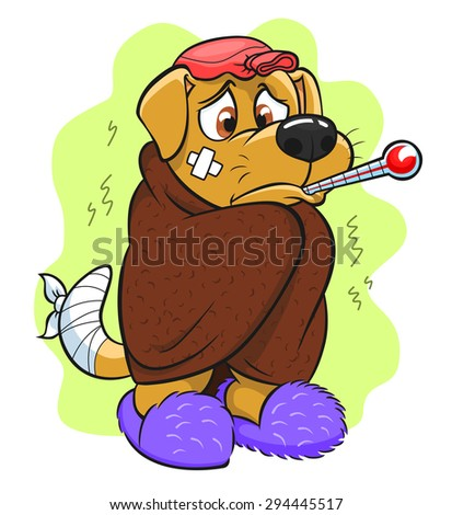 Ill puppy wrapped in a blanket and measures his body temperature. - stock vector