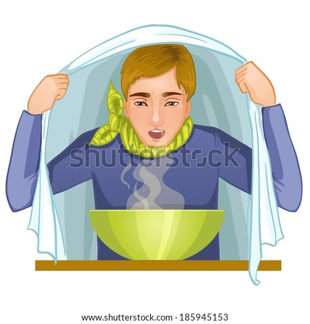 Ill young man makes inhalation, eps10 - stock vector