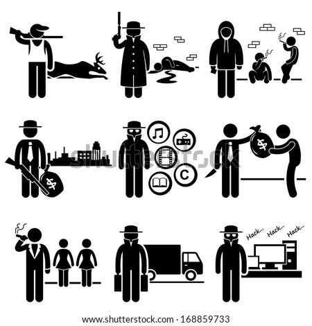 Illegal Activity Crime Jobs Occupations Careers - Poachers, Killer, Drug Dealer, Gangster, Piracy, Loan Shark, Pimps, Smuggler, Hacker - Stick Figure Pictogram - stock vector