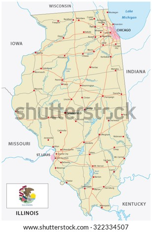 Illinois road map with flag - stock vector