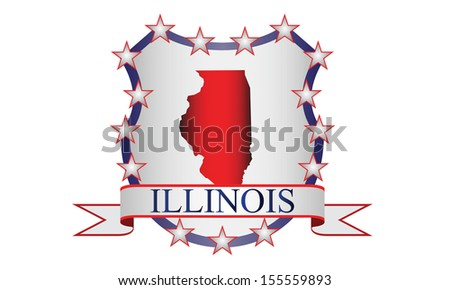 Illinois state map, stars and name. - stock vector