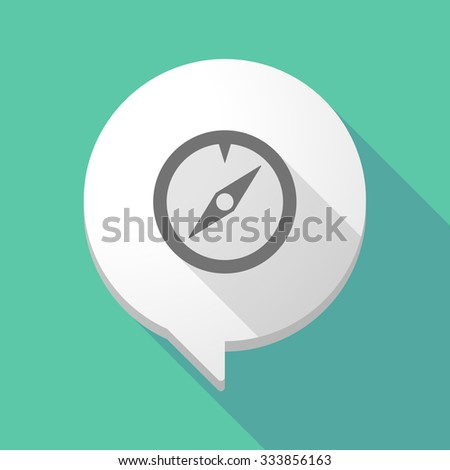 Illistration of a long shadow comic balloon with a compass - stock vector